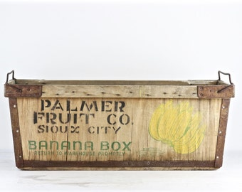 Banana Box, Banana Crate, Vintage Banana Box, Vintage Banana Wood Crate, Wood Crate, Wooden Crate, Industrial Decor, Palmer Fruit Co.
