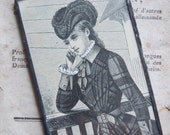 Fiona & The Fig  Victorian 1880-Original Print-Harpers Bazaar Magazine-Black Patina-Mini Sun Catcher - Door Knob Hanger-Ornament