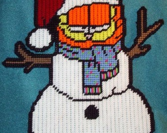 Garfield Snowman Plastic Canvas Pattern
