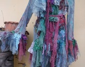 """20%OFF vintage inspired extra shabby jacket in woodland pixie hues ... large to 48"""" bust"""
