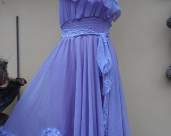 "20%OFF vintage inspired lilac dress with lace and shabby roses...smaller to firmer 36"" bust"