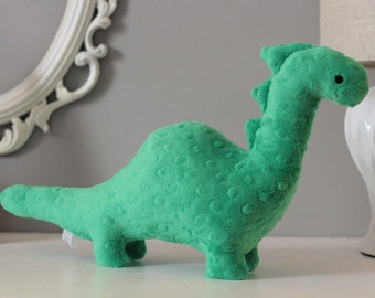Stuffed Dinosaur Toy - Green Minky Plush Dinosaur - Baby Shower Gift - Nursery Decor - Stuffed Animal - Dino Toy -  Kids Christmas Gift