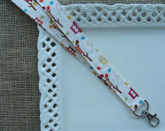 Fabric Lanyard -  Owls on Branches on ivory
