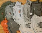7 short sleeve shirts 1 long sleeve and 1 hoodie
