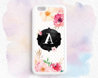 Personalized Initial Watercolor Floral Peach Polka Dot iPhone 7 6s SE Plus 5s 4s Case, Samsung Galaxy s7 s6 s5 s4 s3, Note 3 4 5 Case ch15