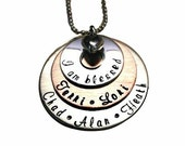 Hand Stamped Jewelry Hand Stamped Stacked Necklace - Family Jewelry