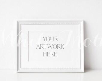 A4 White Frame - (Landscape)  Empty Frame, Stock Photo, Styled Photography, Mock up, prints, illustration, painting