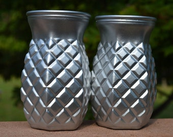 Silver Painted Diamond Pattern Vases