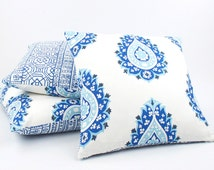 Paisley Pillow Cover 20x20, Blue Throw Pillow, Blue Cushion Cover, Toss Pillow, Accent Pillow, Blue Pillows, Blue and Turquoise