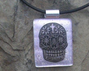 Pink Sugar Skull Pendant Fused Glass Pink Skull Necklace Day of the Dead Jewelry