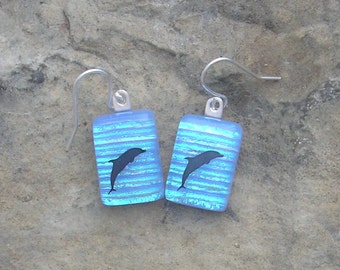 Dolphin Earrings Fused Dichroic Glass Dolphin Jewelry