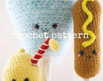 CROCHET PATTERN- Amigurumi County Fair -Cotton Candy, Corn Dog and Lemonade!