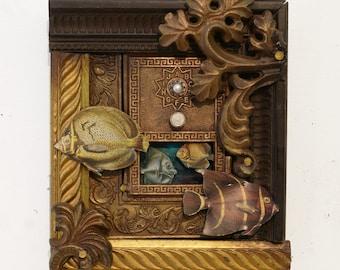The Algae Box II - Original Steampunk Wall Art - Recycled Wall Art - Fish Wall Art
