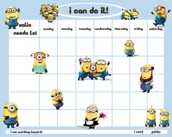 Personalized Children's Reward/Chore Chart - Minion Men