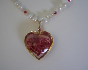 Murano Glass Red Heart on a String of Freshwater Pearls with Matching Earrings VERY RARE SET