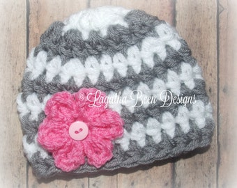 Baby girl striped hat - chunky baby hat -  gray white pink baby hat - photography prop - photo prop - made to order