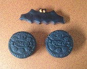 18 Inch Doll Food Two Modern Oreos Doublestuffed With Orange Icing Bat Chocolate Sandwich Cookie Etsy
