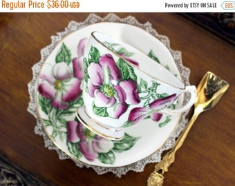 Queen Anne Teacup, Vintage Tea Cup, Cup and Saucer, MAGNOLIA, English Tea 13150