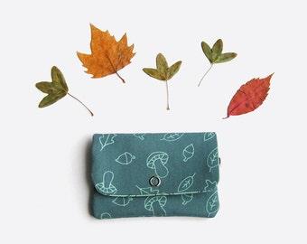 Autumn mini wallet · Card holder · Mini pouch · A walk in the woods print · Organic cotton purse · Coin purses · Acorns print · Folk · Blue