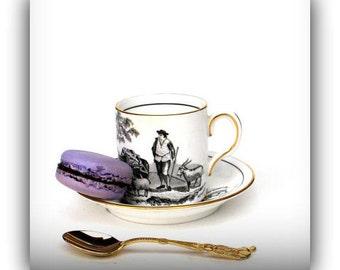 "Vintage English BoneChina Black and White Transferware ""Gentlemans ""Coffee Cup - MCM Demitasse Set"