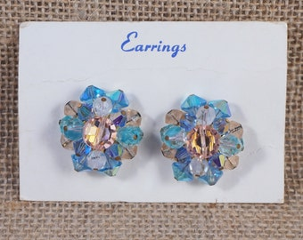 Pastel Pink, Aqua and Light Blue Crystal Aurora Borealis Cluster Button Earrings on Original Card