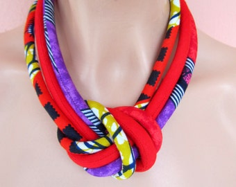 Red African jewelry - Knot  Fabric Colorful Light Weight Necklace