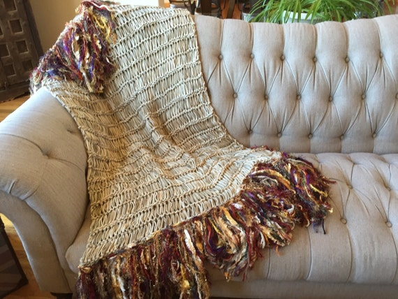 Red Gold Brown Fringe Throw Blanket Afghan With Rust