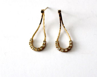 vintage rhinestone drop earrings, teardrop earrings