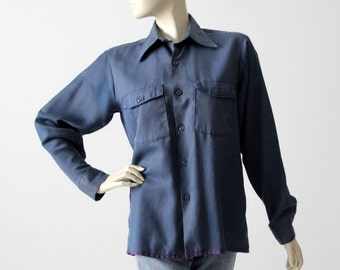 vintage work shirt, 1950s utility button down top