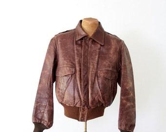 SALE 1950s bomber jacket, vintage brown leather jacket