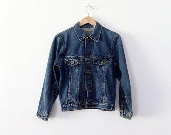 SALE 1970s denim jacket, small jean jacket, dark wash denim
