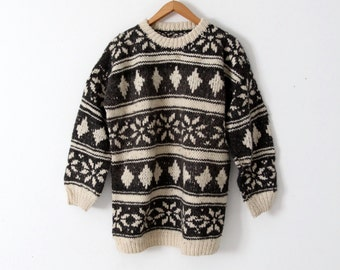 chunky knit sweater, vintage camp sweater, thick wool pullover