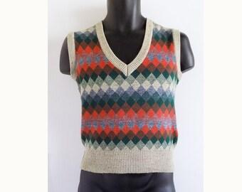 1970s SEARS Pullover vest / Waistcoat / Argyle / Unisex / Medium / Junior Bazaar / Made in Italy