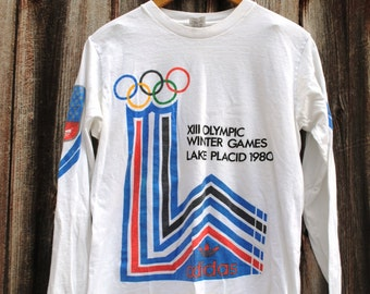 Vintage Adidas 1980 Olympic Winter Games Long Sleeve Shirt Lake Placid