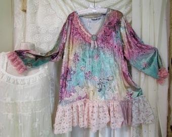 Pastel Velvet Top, romantic shabby laces, OOAK womens plus size, 3X LARGE