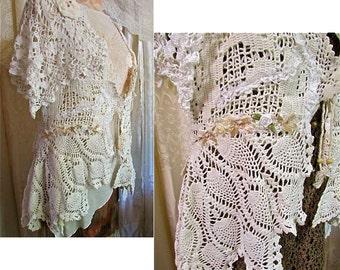 Shabby Doily Sweater, gorgeous romantic white creme ivory cotton crochet doily dress cover romantic layered lagenlook MEDIUM LARGE