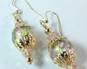 ON SALE Earrings with Lampwork and Crystal