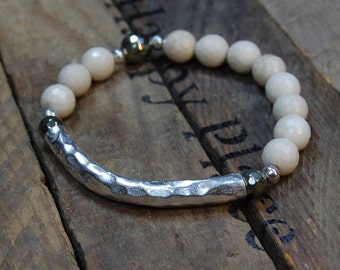 Hammered Thai Silver Bar & Faceted Riverstone Bracelet