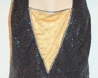 Vintage Black Rhinestoned ladies evening top
