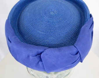 1960's Blue Straw Pillbox Hat With Fabric Bow