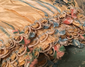 RAREST 12 ft Antique French c1790 Spitalfields Embroidered Floral Silk Dress Robe Remnant Yellow Blue Stripe Large Piece A17