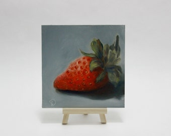 """Small Original Oil Painting """" Portrait of a Strawberry """" Still Life Fruit"""