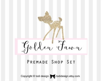 Golden Fawn - Premade Etsy Shop Banner set -  Whimsical