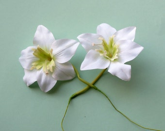 White Orchids, Pair of Wired Flowers, Floral Supply, Flower Heads