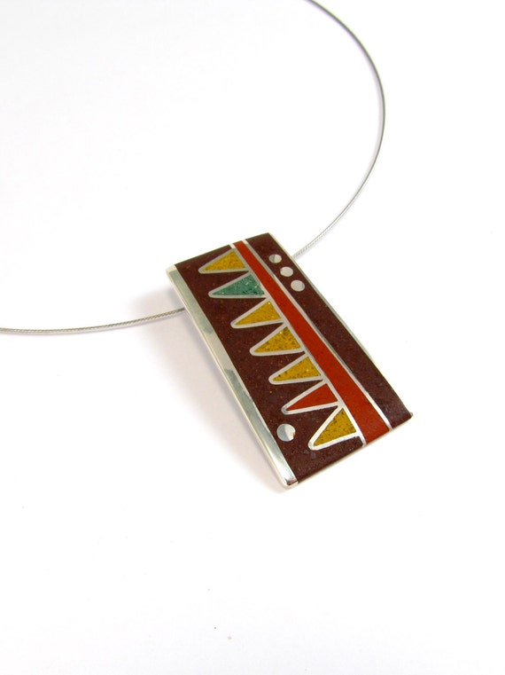Sterling Silver Pendant, Geometric, Mustard, Maroon, Chocolate, Color, Modern, Contemporary, OOAK