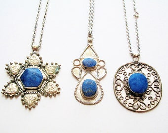 Lapis Lazuli Pendants from Afghanistan with Courtesy Chains-Lot of 3
