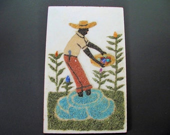 """Gemstone Painting of a Brazilian Miner, Vintage, 8""""x 12""""inches"""