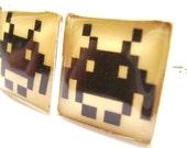 Space Invader Cufflinks, Invader cuflinks, Pacman Cufflinks, Pac Man Cufflinks, Silver Cufflinks, Retro Cufflinks, Computer Game Cufflinks