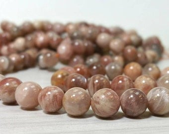 A Grade Natural Sunstone Smooth Round Beads 8 mm Full Strand (G1712W35)