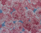 Vintage Fabric, Cotton Blend,Blue with Pink Roses, 1 Yard Plus